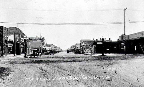Main Street looking east, Crosby Minnesota, 1926