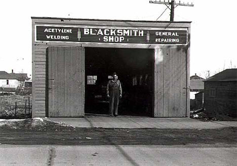 Blacksmith shop, Crosby Minnesota, 1937