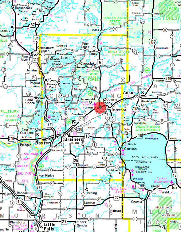 Minnesota State Highway Map of the Crosby Minnesota area