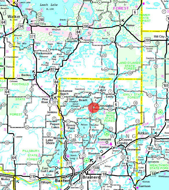 Minnesota State Highway Map of the Crosslake Minnesota area