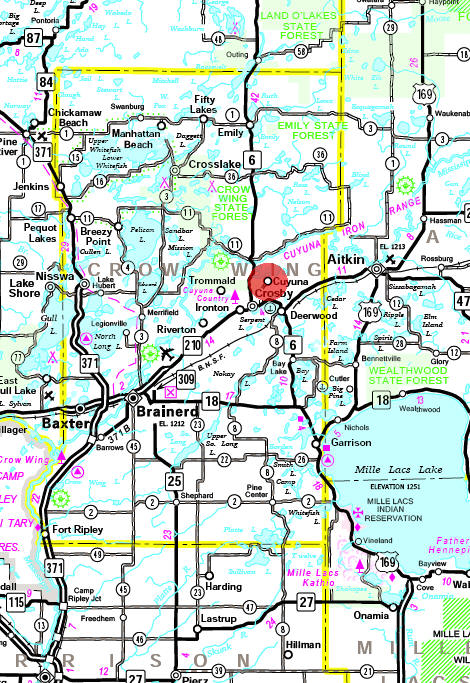 Minnesota State Highway Map of the Cuyuna Minnesota area
