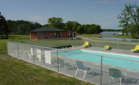 Our new heated pool & new cabin color!