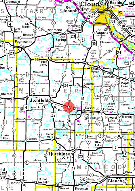 Minnesota State Highway Map of the Darwin Minnesota area
