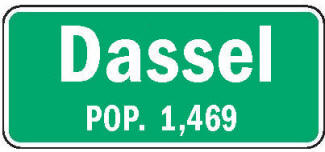 Dassel Minnesota population sign