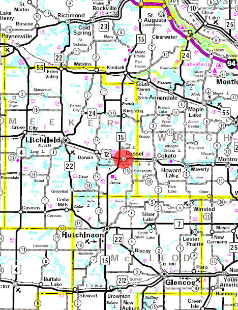 Minnesota State Highway Map of the Dassel Minnesota area