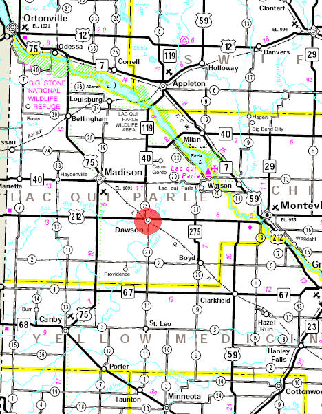 Minnesota State Highway Map of the Dawson Minnesota area