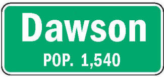 Dawson Minnesota population sign
