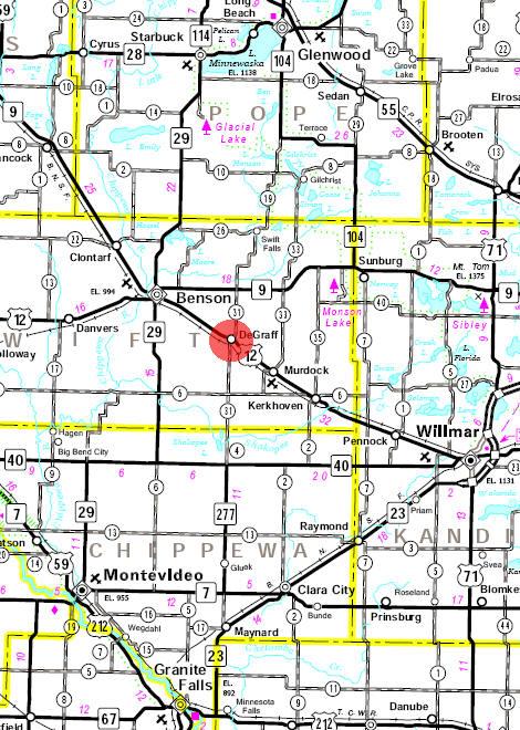 Minnesota State Highway Map of the De Graff Minnesota area