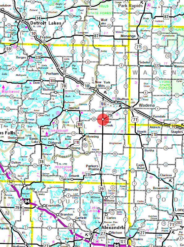 Minnesota State Highway Map of the Deer Creek Minnesota area