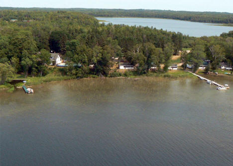 Aerial View of Cedarwild Resort on Moose Lake, Deer River Minnesota, 2007
