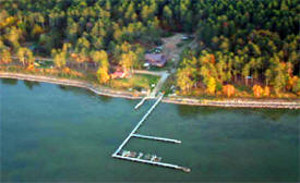 Aerial view of the High Banks Resort on Lake Winnibigoshish near Deer River minnesota