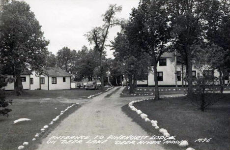 Entrance to Pinehurst Lodge on Deer Lake, Deer River Minnesota, 1940's