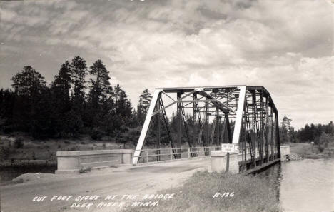 Cut Foot Sioux at the Bridge, Deer River Minnesota, 1930's?
