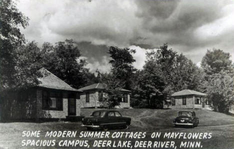 Cottages at the Mayflower Resort on Deer Lake, Deer River Minnesota, 1950's