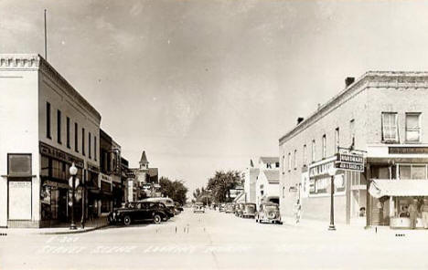Street scene, business district, Deer River Minnesota, 1940's