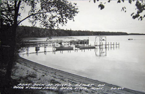 Boat Dock at Voigt's Resort on Deer and Moose Lakes, Deer River Minnesota, 1954