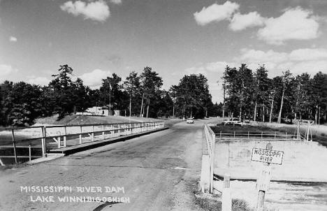Mississippi River Dam on Lake Winnibigoshish near Deer River Minnesota, 1950's