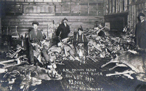 1 Days Deer Hunt at Great Northern Depot, Deer River Minnesota, 1910