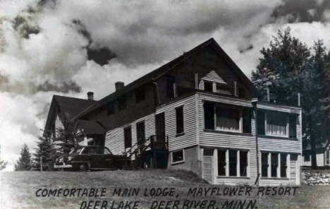 Lodge at Mayflower Resort on Deer Lake, Deer River Minnesota, 1956