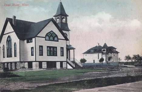 Church and School, Deer River Minnesota, 1910