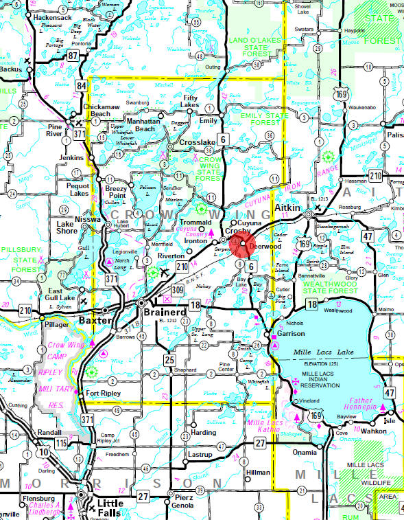Minnesota State Highway Map of the Deerwood Minnesota area