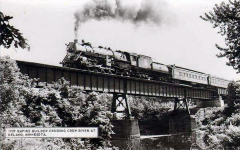 The Empire Builder crossing the Crow River at Delano Minnesota, 1929