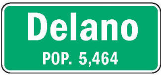 Delano Minnesota population sign