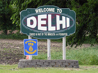 Delhi Minnesota welcome sign