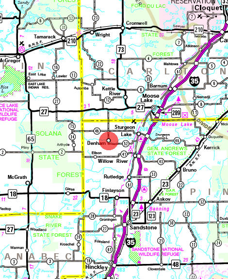 Minnesota State Highway Map of the Denham Minnesota area