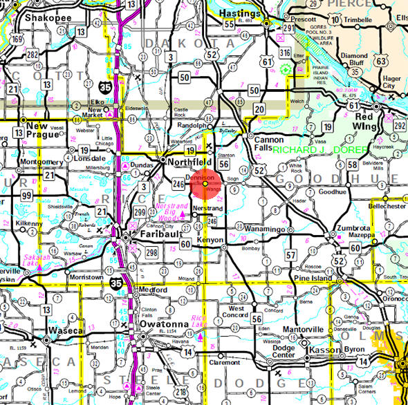 Minnesota State Highway Map of the Dennison Minnesota area