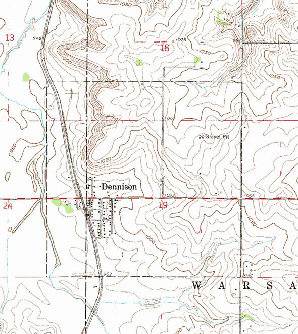 Topographic map of the Dennison Minnesota area
