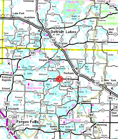 Minnesota State Highway Map of the Dent Minnesota area