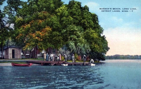 Muench's Beach, Long Lake, Detroit Lakes Minnesota, 1945