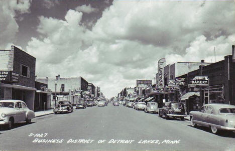 Business District, Detroit Lakes Minnesota, 1952