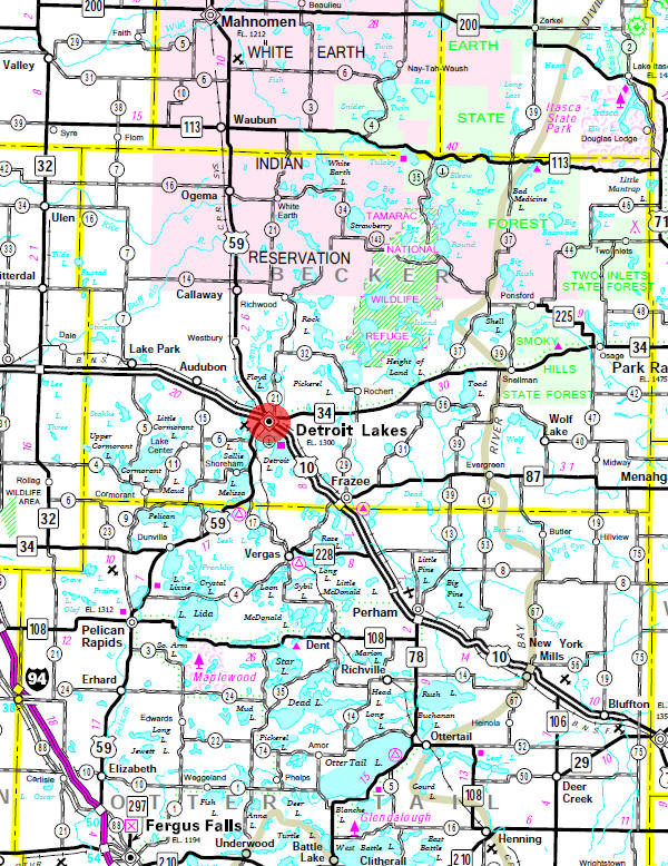 Minnesota State Highway Map of the Detroit Lakes Minnesota area