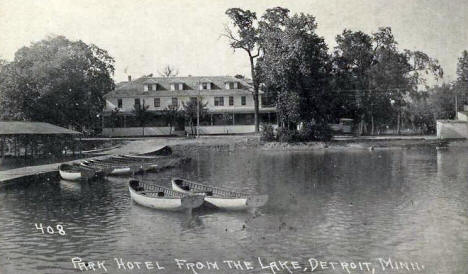 Park Hotel from the Lake, Detroit Lakes Minnesota, 1920's