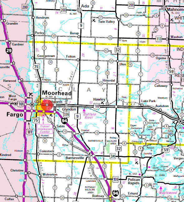 Minnesota State Highway Map of the Dilworth Minnesota area