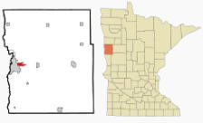 Location of Dilworth Minnesota