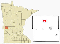 Location of Donnelly, Minnesota