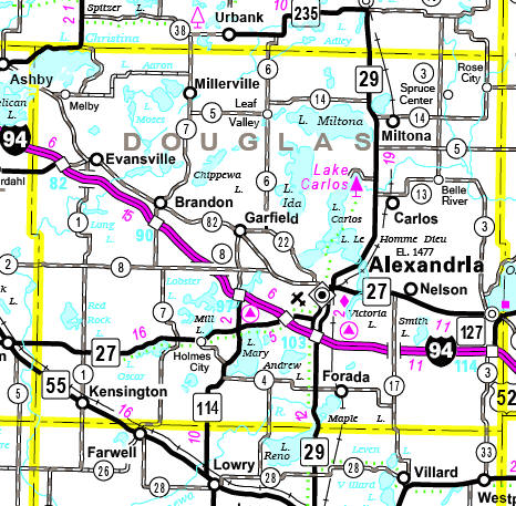 Minnesota State Highway Map of the Douglas County Minnesota area