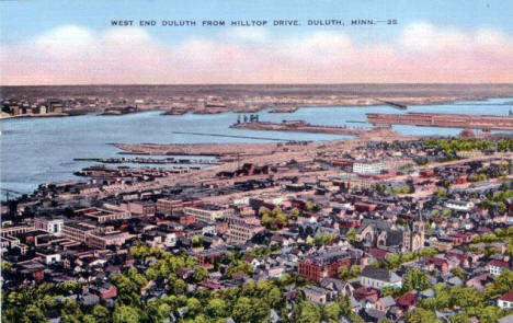 West End of Duluth from Hilltop Drive, 1940's?