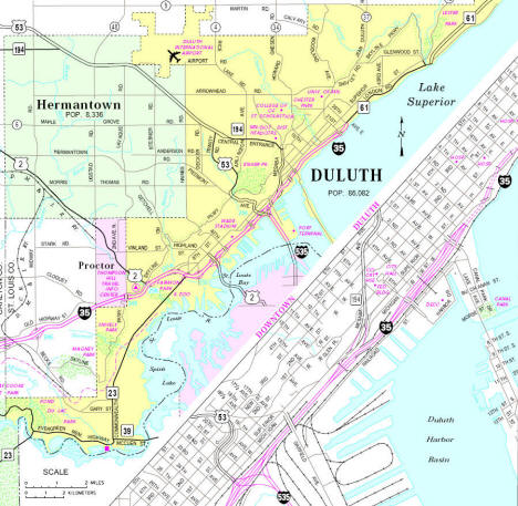 Minnesota State Highway Map of the Duluth Minnesota area