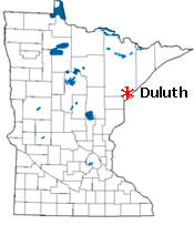 Location of Duluth Minnesota