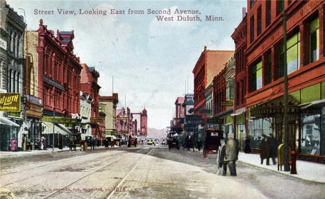 Street View, looking east from Second Avenue, West Duluth Minnesota, 1911