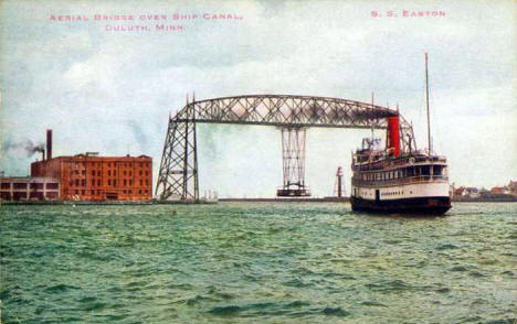 Aerial Bridge and SS Easton, Duluth Minnesota, 1918