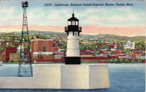 Lighthouse at entrance to Duluth-Superior Harbor, Duluth Minnesota, 1948