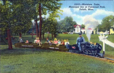 Miniature Train, Municipal Zoo at Fairmount Park, Duluth Minnesota, 1943
