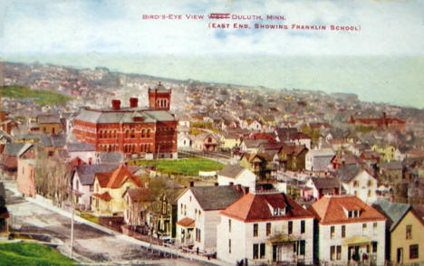 Birds eye view, east end of Duluth Minnesota showing Franklin School, 1907