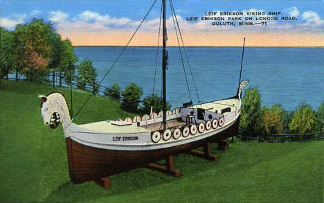 Leif Erikson Viking Ship, Leif Erikson Park on London Road, Duluth Minnesota, 1940's