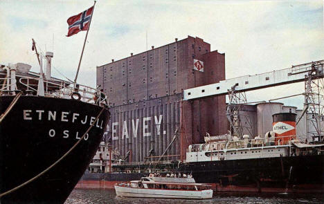 Peavey Grain Elevator and Duluth Harbor, Duluth Minnesota, 1960's